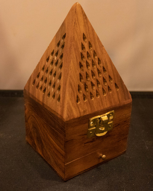 Pyramid Wood Incense Burner