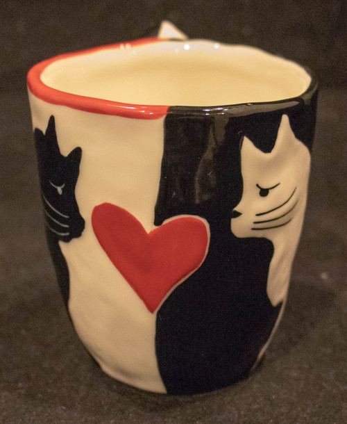 Black and White Cat Heart Mug
