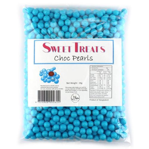 Blue chocolate pearls