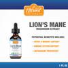 Lion's Mane Mushroom Tincture | 250mg/mL | 30% Beta Glucan Min. | 1 FL OZ (30ML) | Hericium erinaceus | Whole Fruiting Body