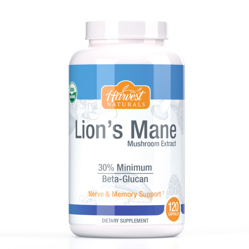 Lion's Mane Mushroom Capsules | 1000mg | 30% Beta Glucan Min. | 120 Count | Hericium erinaceus | Whole Fruiting Body