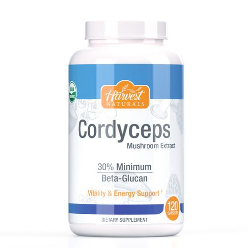Cordyceps Mushroom Capsules | 1000mg | 30% Beta Glucan Min. | 120 Count | Cordyceps militaris | Whole Fruiting Body