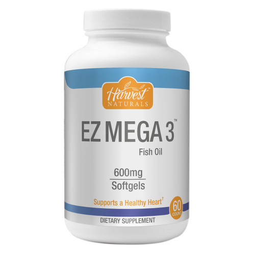 EZ Mega 3™ Omega-3 Fish Oil Softgels | 600mg | 60 Servings