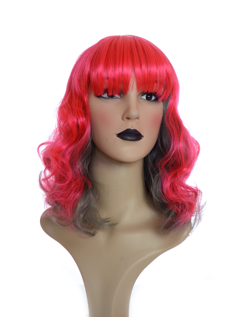 Red Grey 2 Tone Curly Wig With Fringe. Perrie Wig. 4704009dbd63
