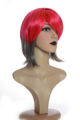Crimson Red & Grey 80's Inspired Bohemia Wig