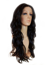 Black Lace Front long waterfall wave texture wig.