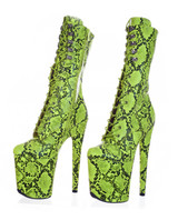 Lime Green Platform Boots. Dragpole Shoes.