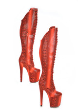 Thigh High Red Snake Print Boots