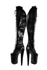 Black Patent Vegan Leather Platform Boots