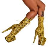 Yellow animal print platform boots. 8 inch Heels