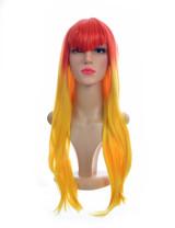 Long Straight Orange Yellow Two Tone V Fringe Xtina Wig