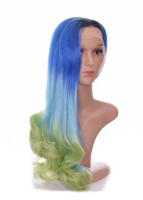 RootedAqua Marine  Blue Green Ombre Lace Front Wig