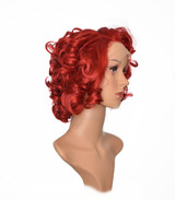 Red Burlesque Style Lace Front Short Curly Wig.