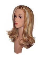 Streaked Blonde Mid Length Wig. Sophia.