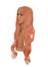 Apricot Pink Long Lace Front Wig.