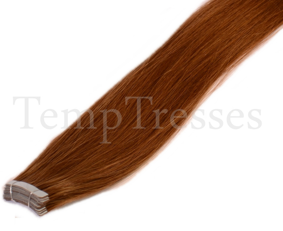 Shade 6 Brown 100% Human Hair Tape In Hair Extensions