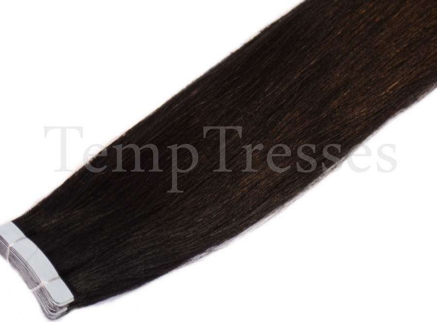 Shade 1 Black 100% Human Hair Tape In Hair Extensions