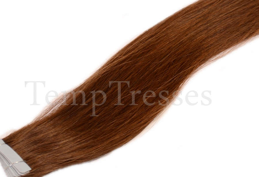 Shade 4 Brown 100% Human Hair Tape In Hair Extensions