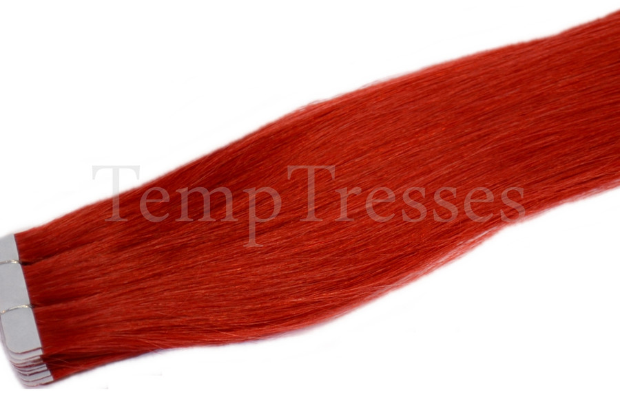 Pillarbox Red 100% Human Hair Tape In Hair Extensions