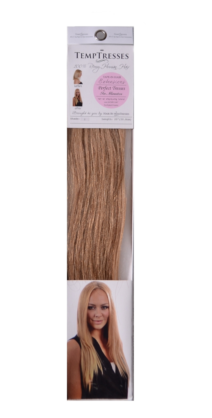 TempTresses Professional 100% Human Hair Tape In Hair Extensions