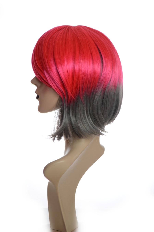 Crimson Red & Grey 80's Inspired Bohemia Wig