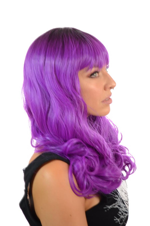 Purple Rooted Wig. Fringe & Dark Roots.