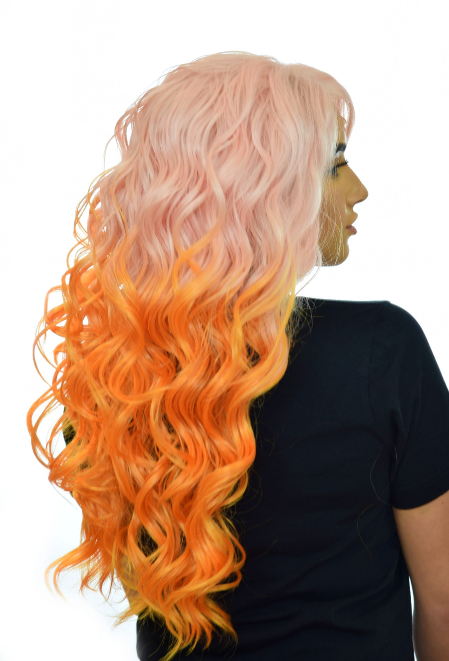 Pink Orange Ombre Lace Front Wig
