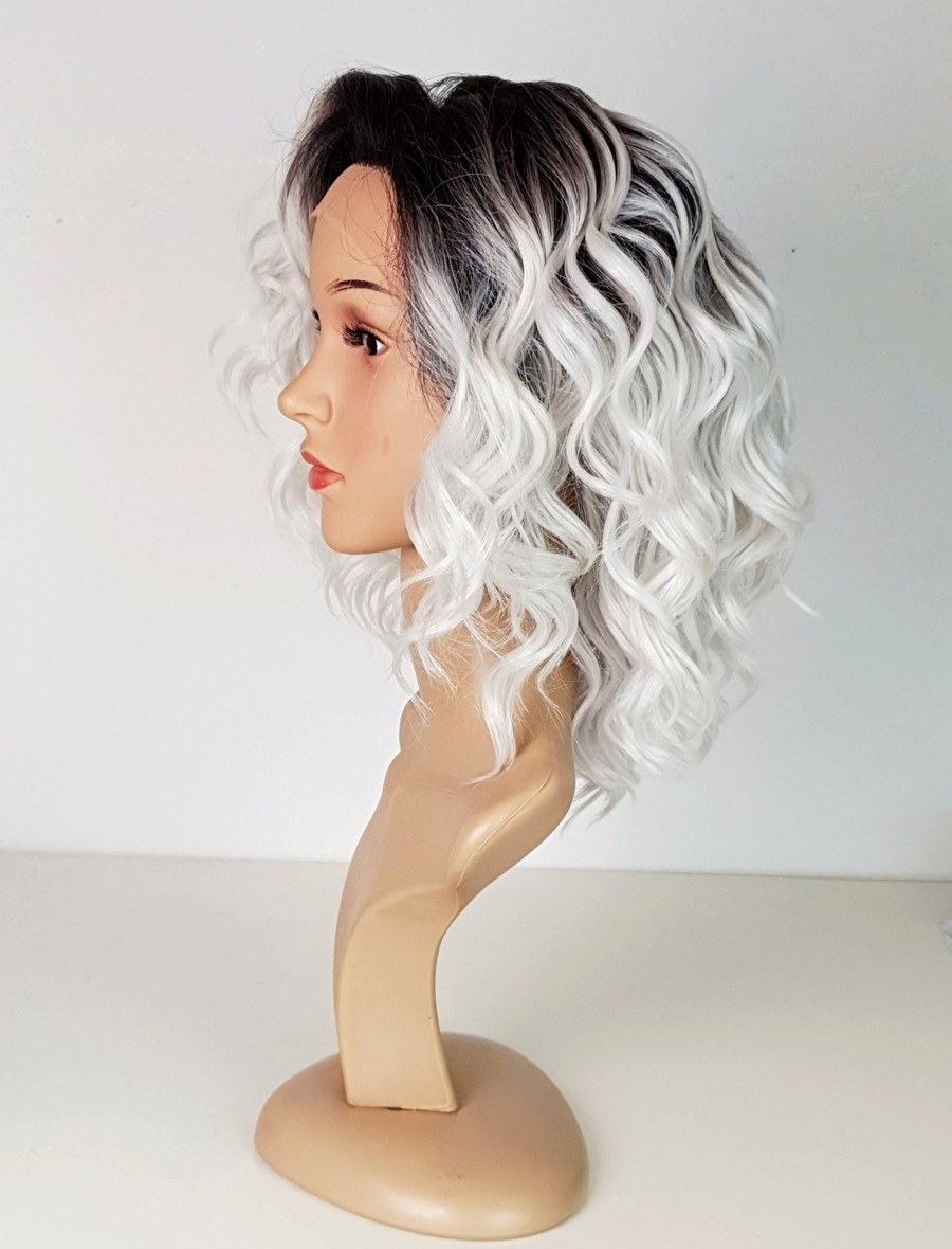 White Grey Lace Front Spiral Curl wig.