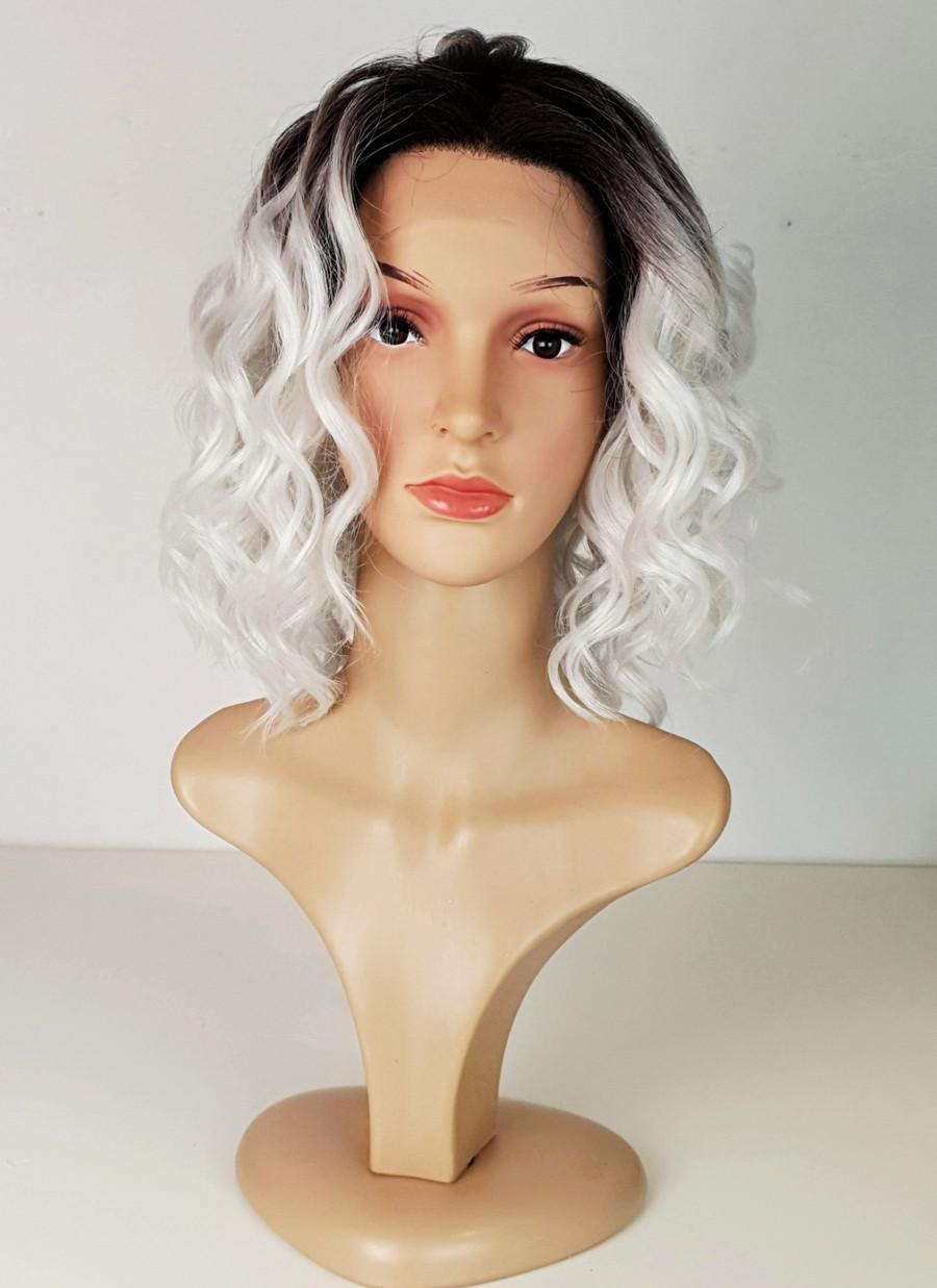 Ice Grey Lace Frontal Spiral Lob wig. Tia