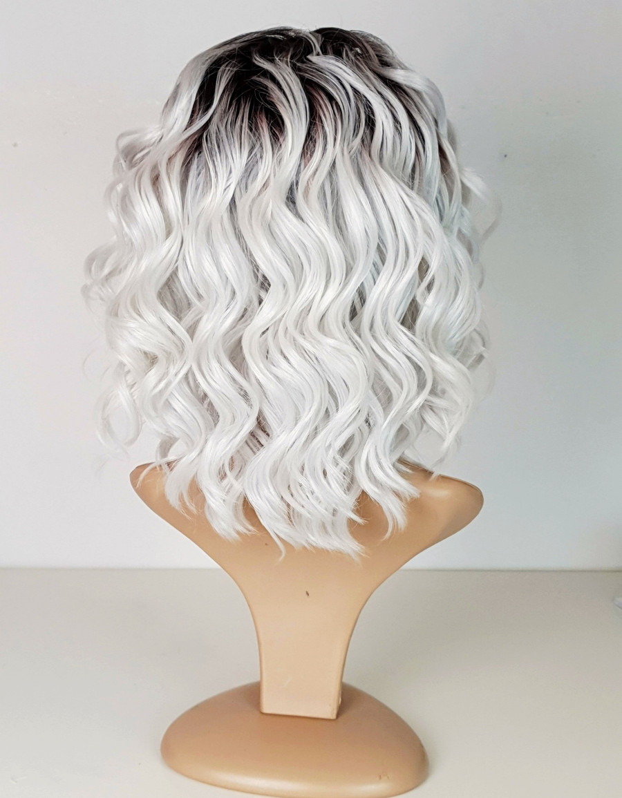 Tia - White Grey Rooted Lace Front Spiral Curl wig.