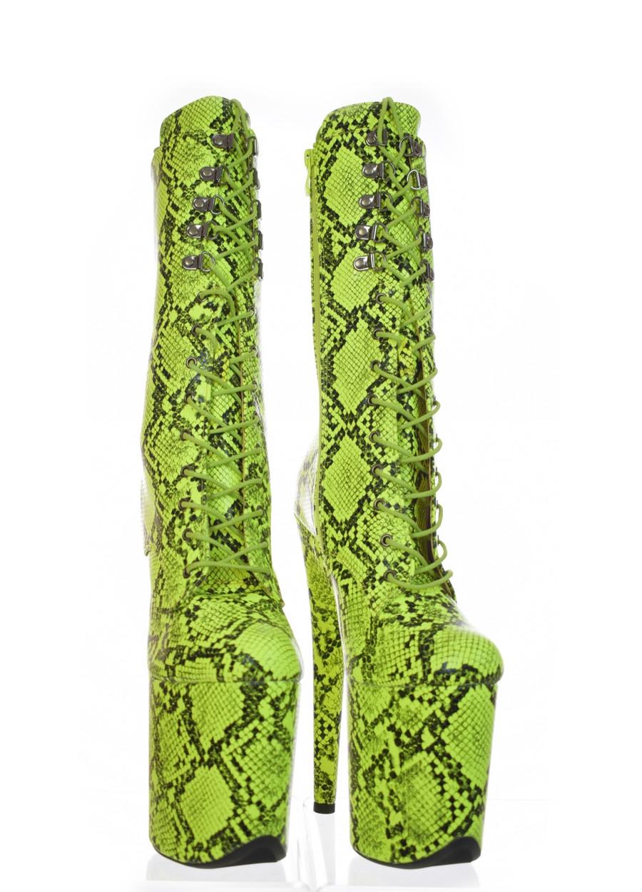 Platform Poledance Green Snake Boots