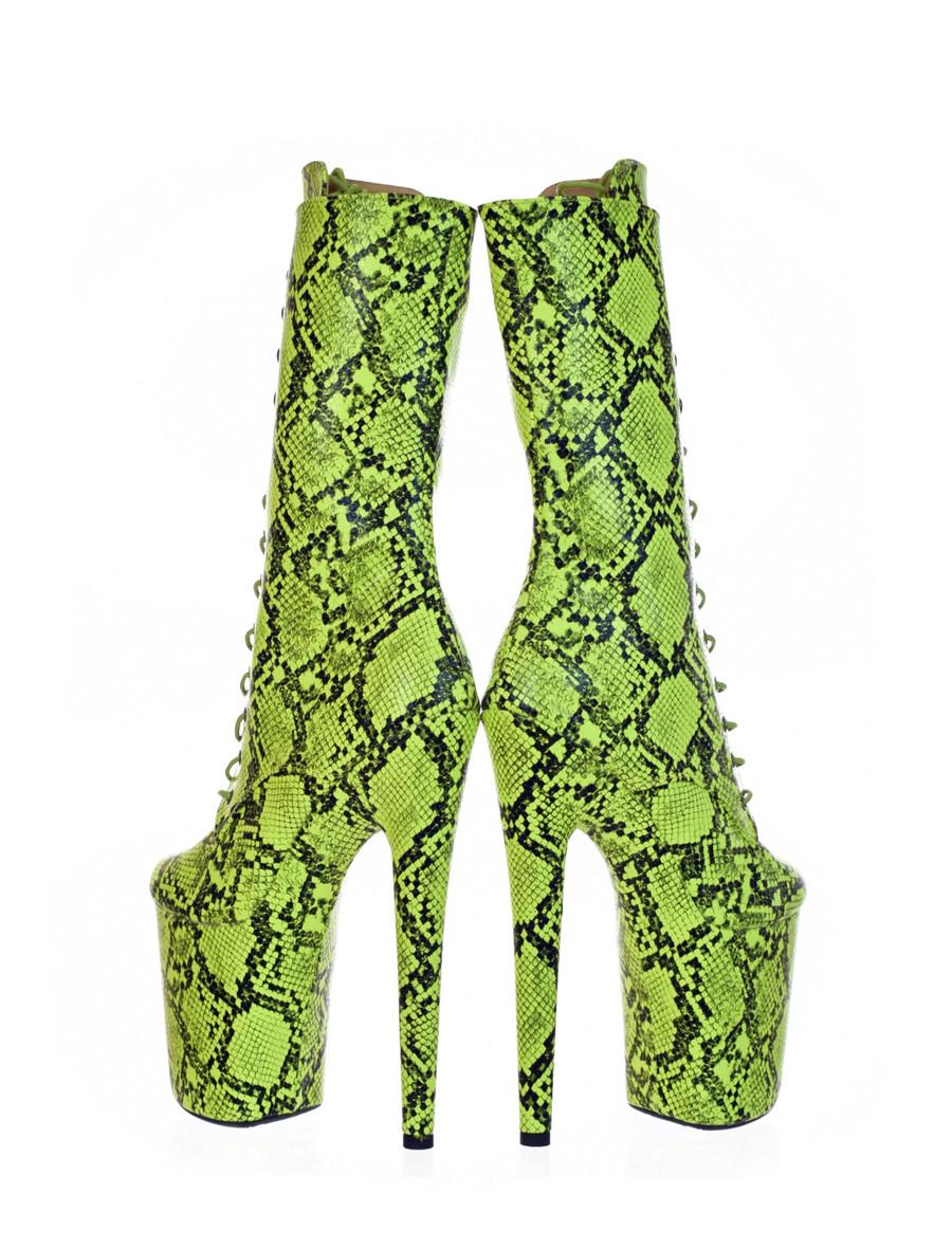 Lime Lizard Green  8 inch Platform Boots
