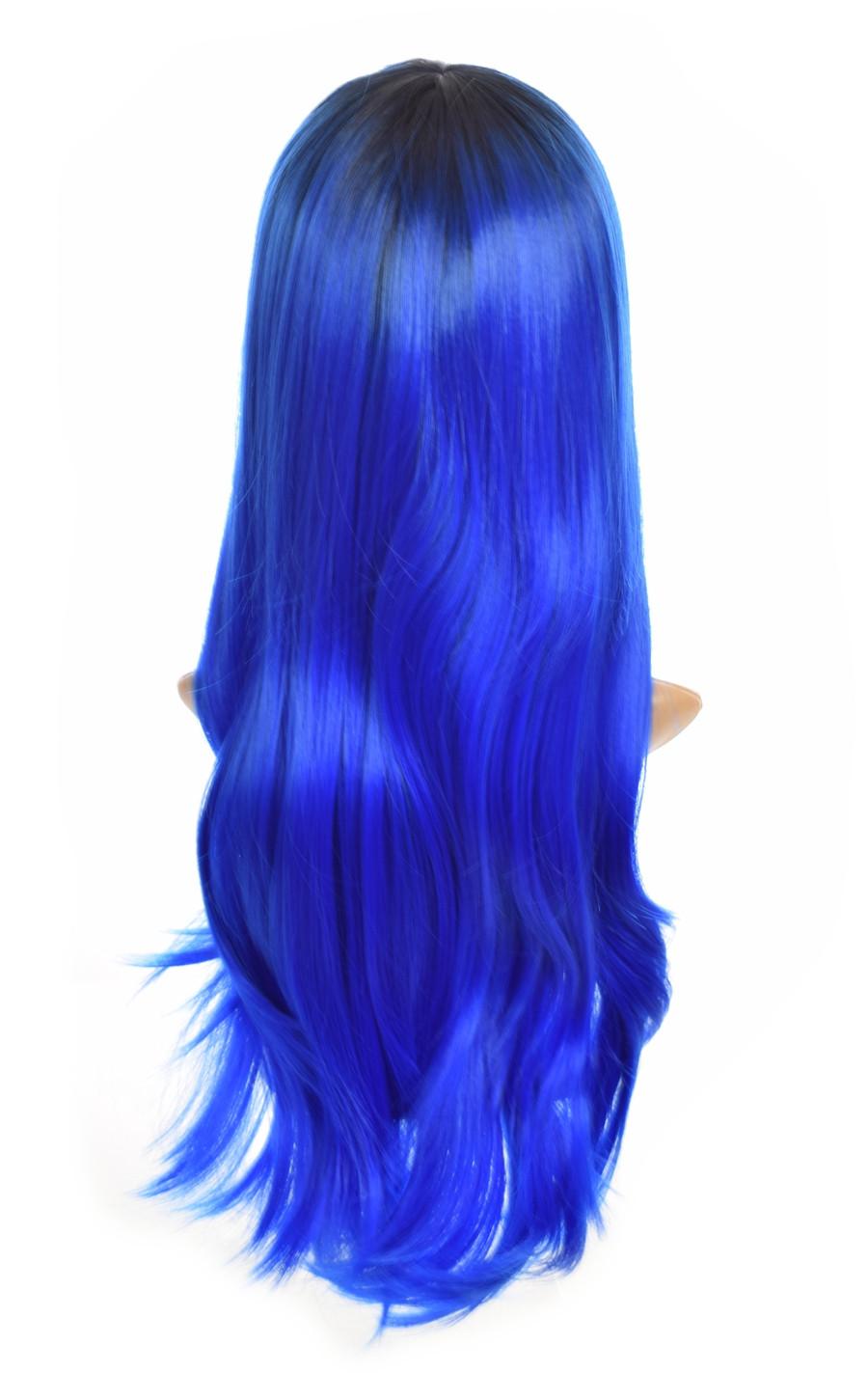 Blue Ink Straight Long Wig. Rear