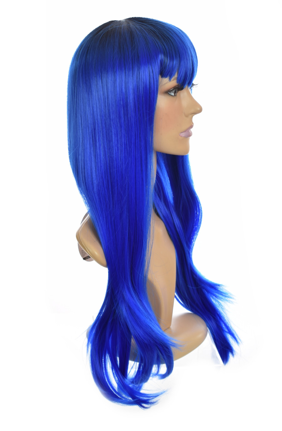 Blue  Straight Long Wig. Xtina Blue Ink