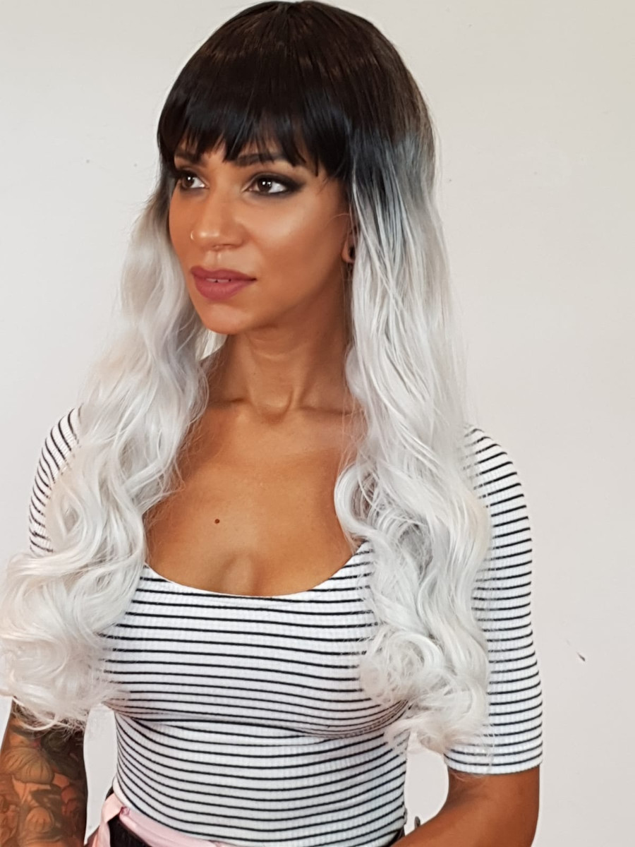 Long Curly White Troya Wig with Dark Roots.