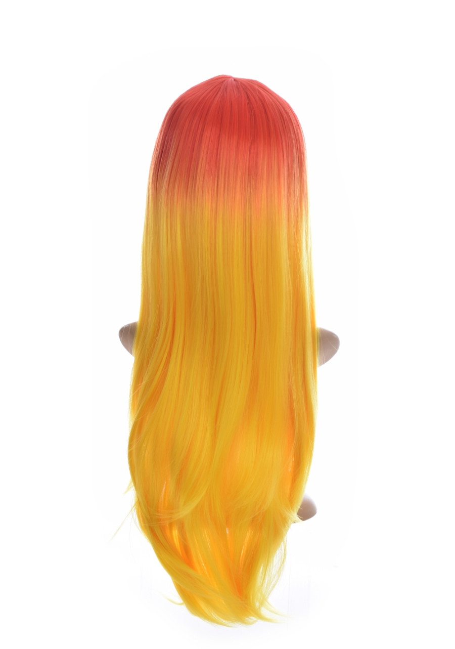 Long Straight Orange Yellow Ombre  V Fringe Xtina Wig