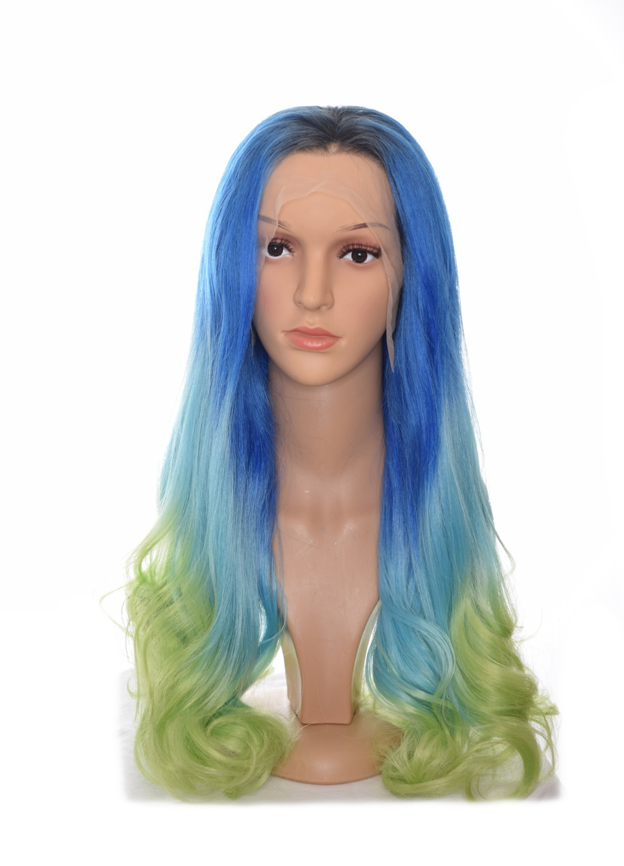 Aqua Marine  Blue Green Ombre Lace Front Mermaid Wig