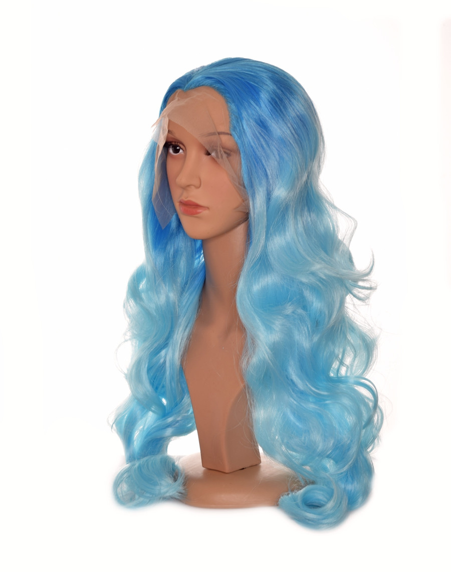 Ombre  Blue Long Lace Front Wig. Ocean Blue
