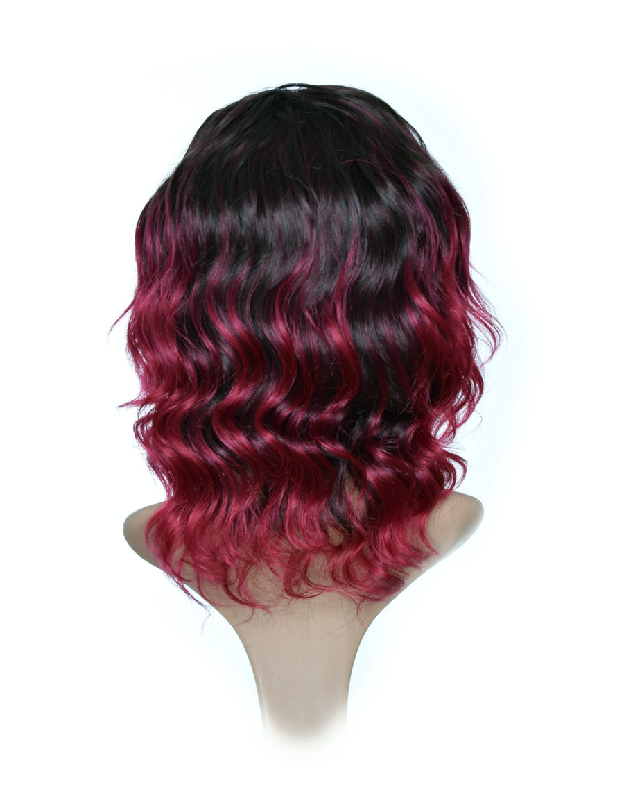 Black Cherry Ombre Wavy Wig. Lace Front  Wig