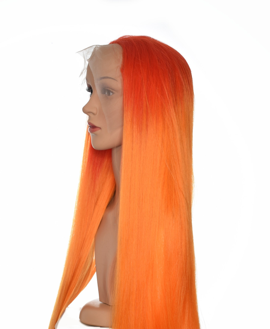 Orange Ombre Godiva XL Lace Front Wig. Ombre