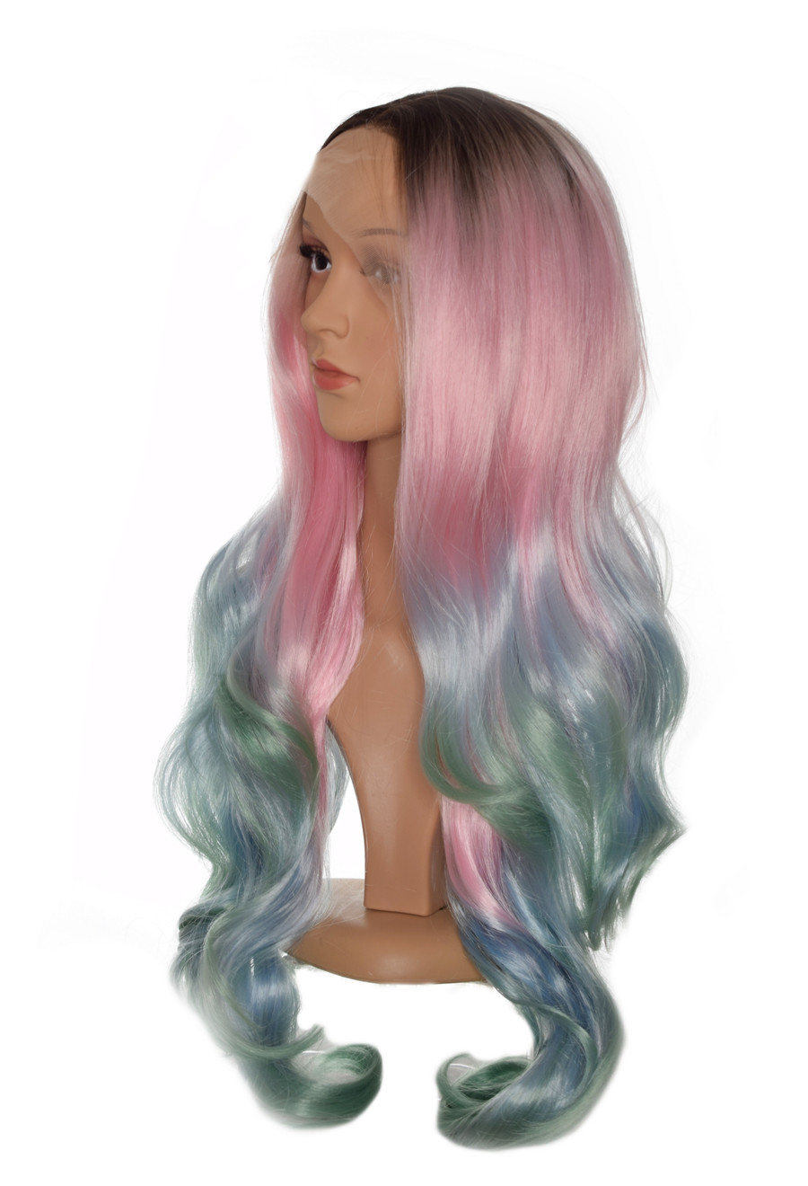 Mermaid Pink  Blue Green Ombre Lace Front Wig