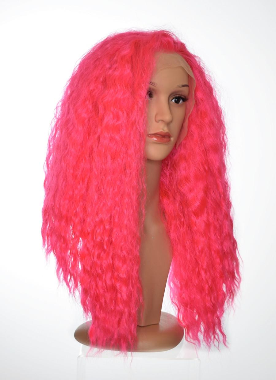 Shocking Pink Lace Front Wig. Bae Bea Shakira Inspired Wig