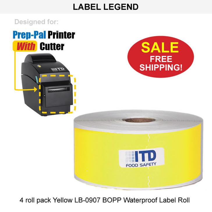 4 roll pack Yellow LB-0907 BOPP Waterproof Label Roll - FREE Shipping