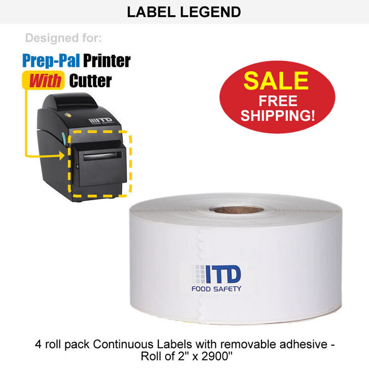 """4 roll pack  Continuous Labels with removable adhesive - WHITE-Roll of 2"""" x 2900"""" - FREE Shipping"""