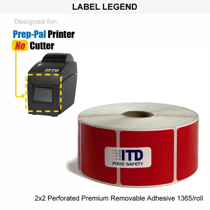 Roll of 2x2 Perforated Labels Premium Removable Adhesive - RED - 1365 Labels per Roll