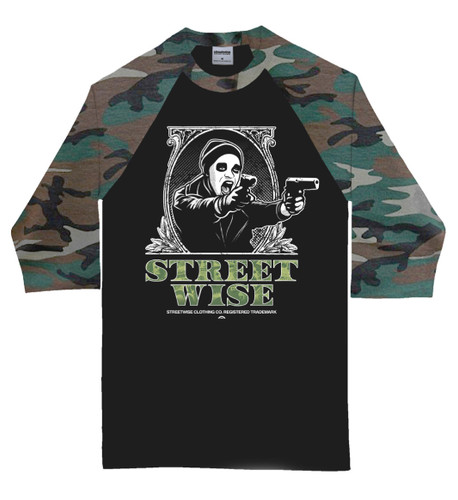 Streetwise Presidents black and camouflage raglan