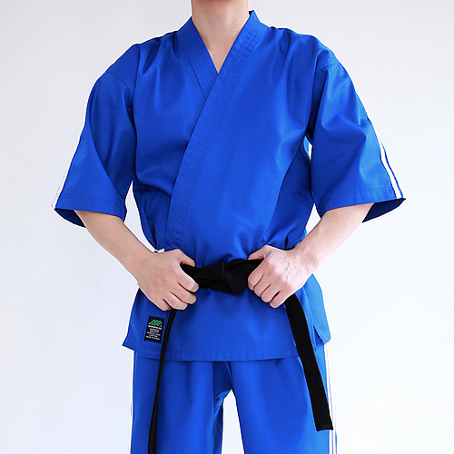 Blue Short Sleeve Hapkido Uniform (Takes 1- 2 weeks to make this product)