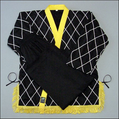 Diamond Black-yellow lapel and tassel (Takes 1- 2 weeks to make this product)