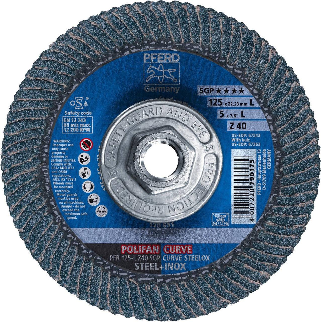 Pferd Large Polifan-curve Z SGP Curve Steelox Flap Disc | Plain Arbor Hole  | 67339 | 4-1/2