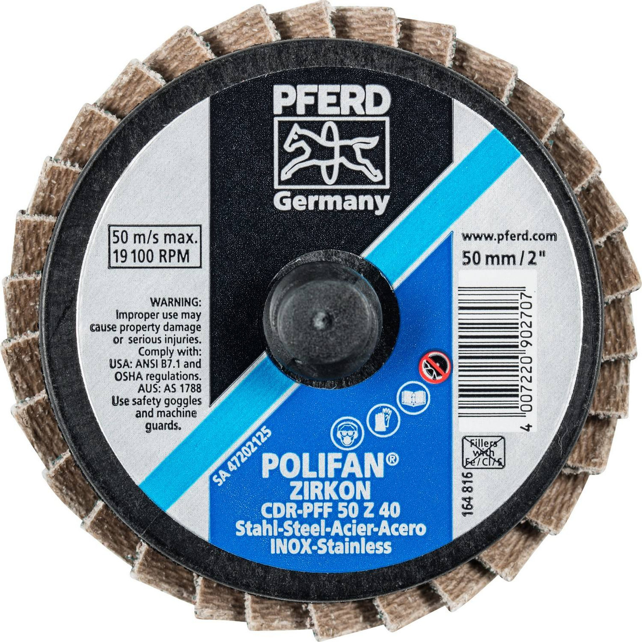 6 x 5//8-11 POLIFAN Flap Disc 120 Grit Zirconia Conical PSF-Extra